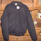Black Insulated Bomber Jacket - NEW - Front Button - Size Small