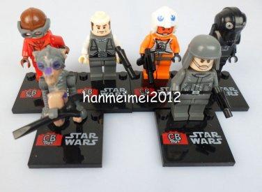 Set of 6 Star Wars Minifigures  Building Block Toys Sebula Lobot Pilots Driver