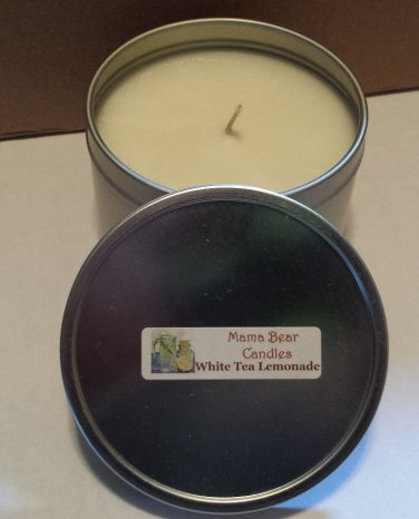 White Tea Lemonade Soy Candle in 8oz Tin with Lid