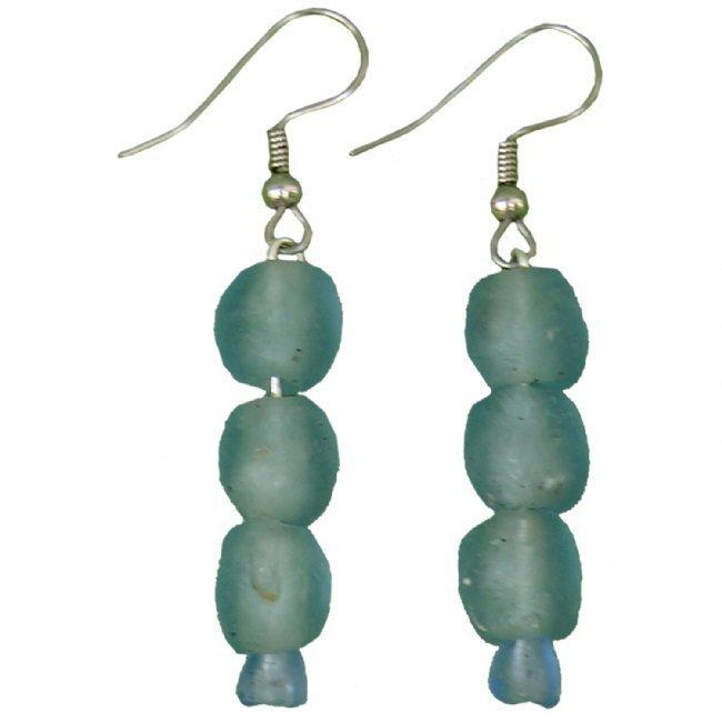 Handmade Recycled Glass Bead Drop Earrings Aqua Fair Trade