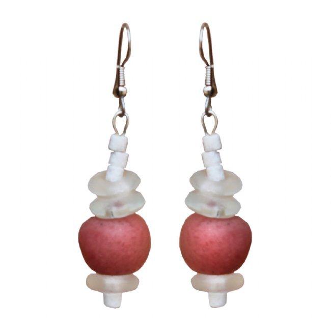 Handmade Recyceled Pink Poppy Glass Bead Abacus Drop Earrings Fair Trade