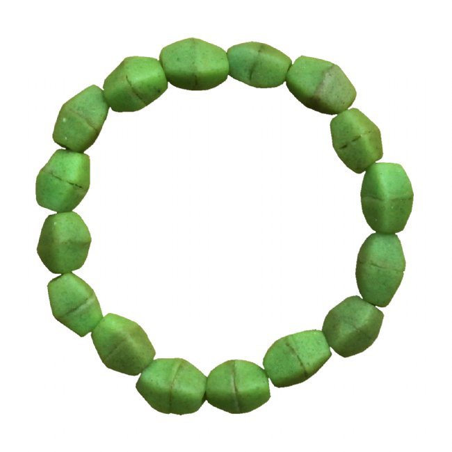 Recycled Glass Stretch Bracelet Lime Green Handmade Fair Trade