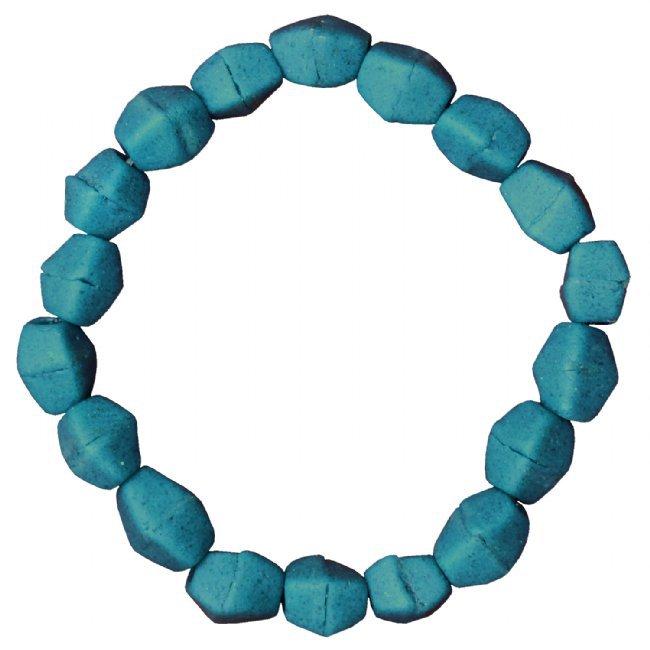 Recycled Glass Stretch Bracelet Teal Handmade Fair Trade