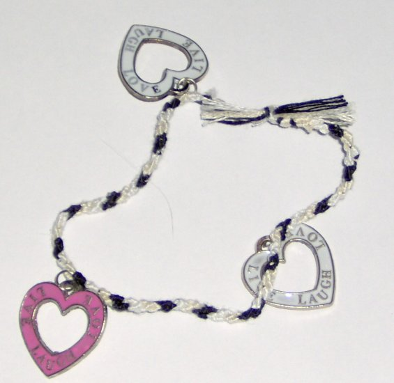 LIVE LOVE LAUGH braided heart charm bracelet