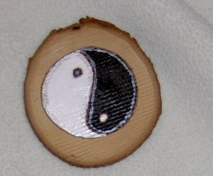 Handmade Yin Yang wood chip magnet woodburned and handpainted with silver accents