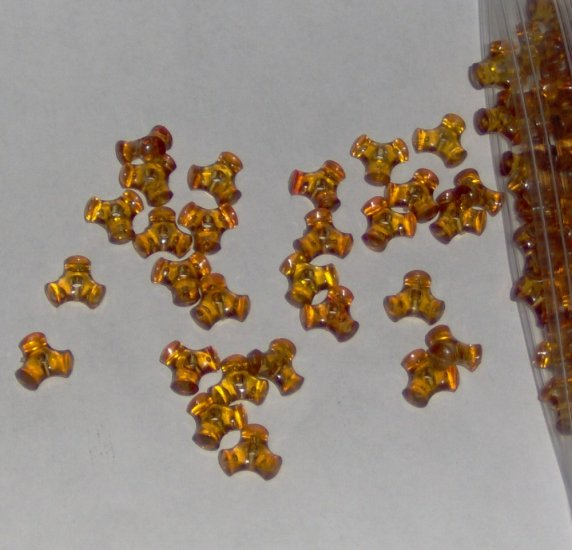 SALE 1 ounce of Vintage acrylic tripoint beads - translucent caramel brown