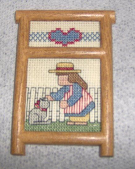 Here kitty kitty Framed cross stitch magnet handmade