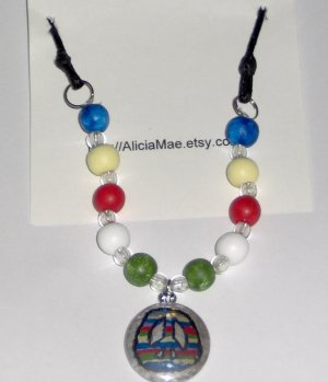 Multicolor necklace with peace pendant