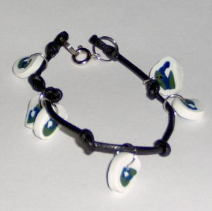 Knotted cable polymer clay Earth charm bracelet