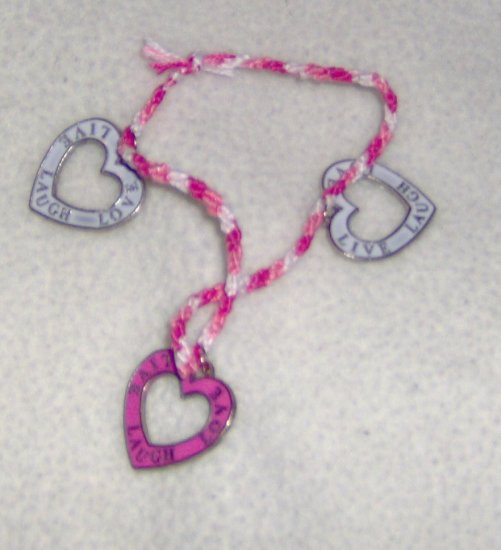 LIVE LOVE LAUGH Braided tricolor floss bracelet with heart charms