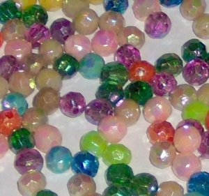 1 ounce 6 mm plastic facet beads various colors shiny