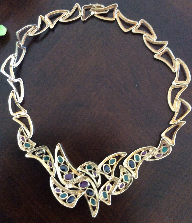 14k multicolored cabochon cut sapphire necklace
