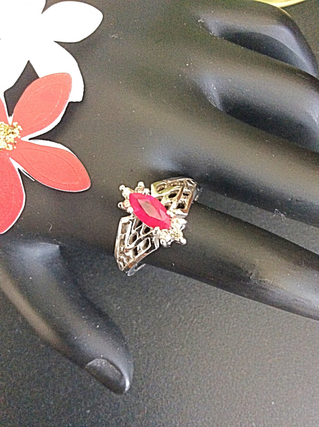 14k white gold diamond and marquis cut ruby ring