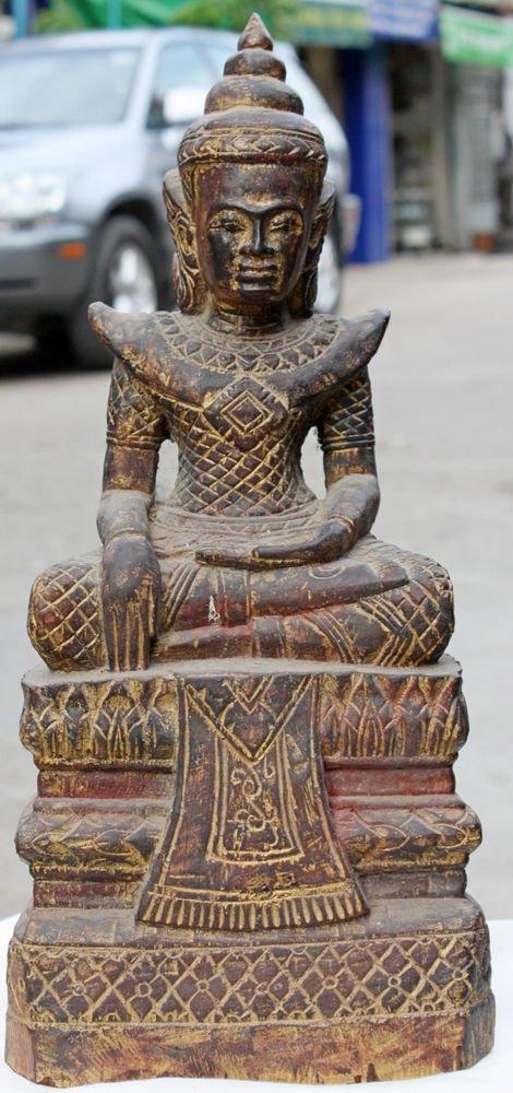 Asian Wooden Sitting Buddha #14
