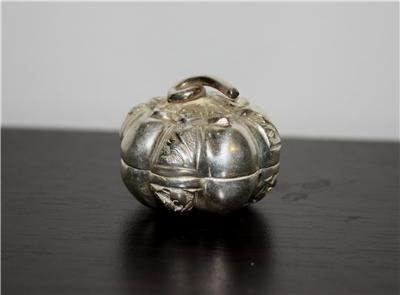 Asian Silver Pumpkin Trinket Box