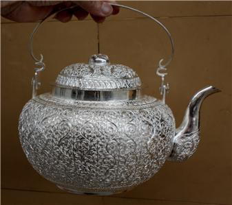 Asian Handcrafted Silver Teapot