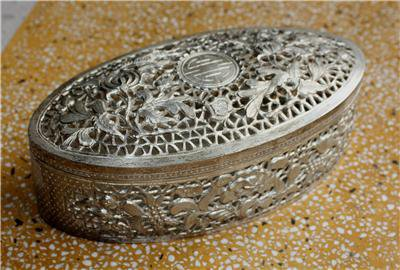 Asian Filigree Silver Oval Lidded Box with Flowers