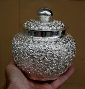 Asian Handcrafted Silver Pot With Lid