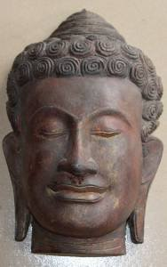Asian Wooden Hangable Buddha Head