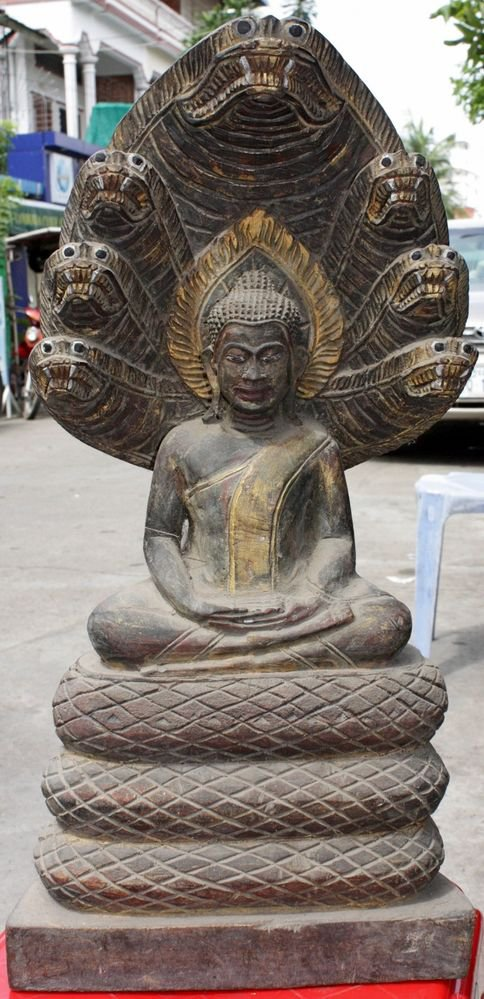 Asian Wooden Sitting Buddha #4