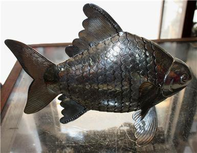Exquisite Asian Articulated Silver Fish