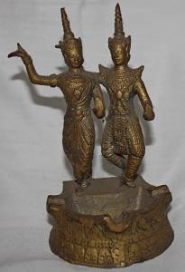 Old Antique Khmer Cambodian Bronze Dancing Sisters Statue