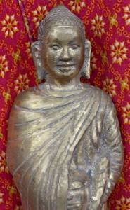 Old Asian Cambodian Monk Holding Pot Statue
