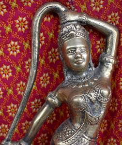 Old Asian Bronze Cambodian Dancing Lady Statue