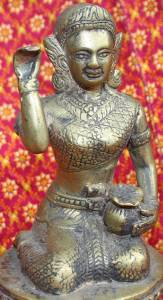Old Asian Bronze Cambodian Sitting Lady Holding A Pot