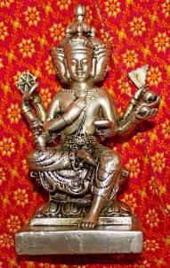 Old Asian Silver Phra Phrom Buddha Statue