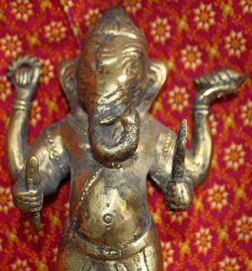 Old Hinduism Asian Bronze Ganesha The Elephant Headed Deity Statue