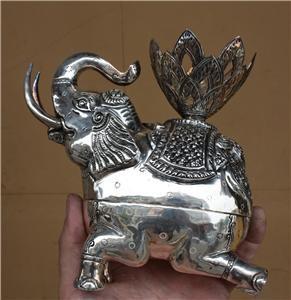 Asian Silver Sitting Elephant Statue Box