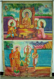 Antique Asian Original Old Cambodian Buddhist Oil Canvas Buddha Painting #7