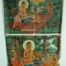 Antique Asian Original Cambodian Buddha Oil Painting Monks BA3