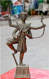 Old Asian Cambodian Bronze 4 Arm Statue #2