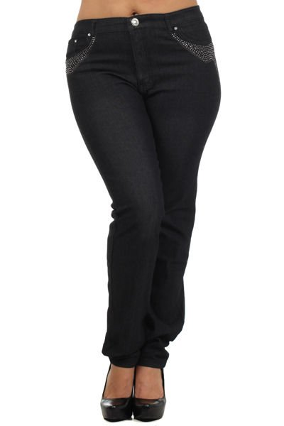 WOMENS 5 POCKET STRAIGHT LEG JEANS WITH HIGH WAIST BUTTON AND ZIPP CLOSURE