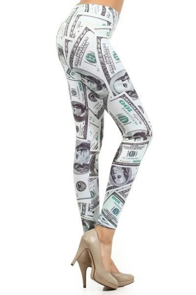 WOMENS GREEN WHITE LEGGINGS WITH A HUNDRED DOLLAR BILL GRAPHIC DESIGN SIZE S M L