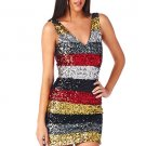 WOMENS BLACK AND RED SEQUIN PARTY CAUSAL BODYCON MINI DRESS SIZE S M L