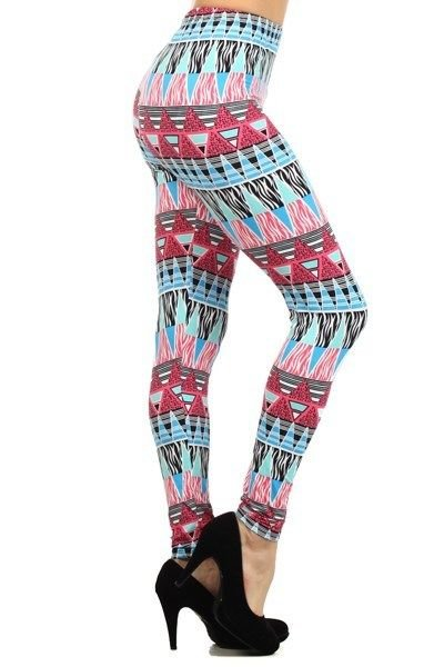 WOMENS PINK AND BLUE SPANDEX POLYESTER CASUAL TRIBAL PRINT LEGGINGS SIZE S M L
