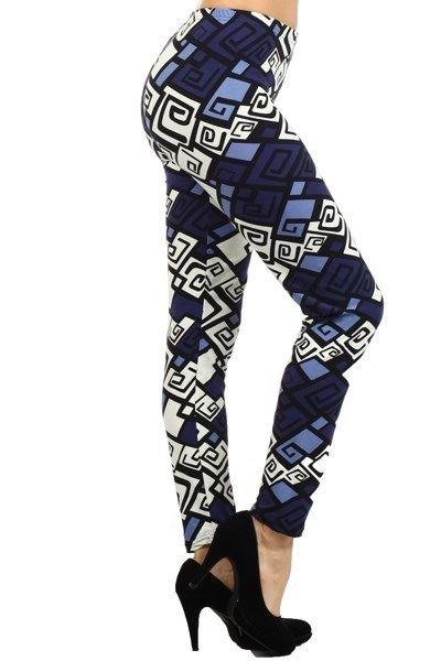 WOMENS NAVY BLUE GEOMETRIC TRIBAL PRINT CASUAL PARTY LEGGINGS SIZE S M L