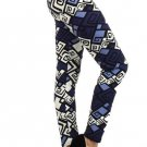 WOMENS NAVY BLUE GEOMETRIC TRIBAL PRINT CASUAL PARTY LEGGINGS SIZE S M L