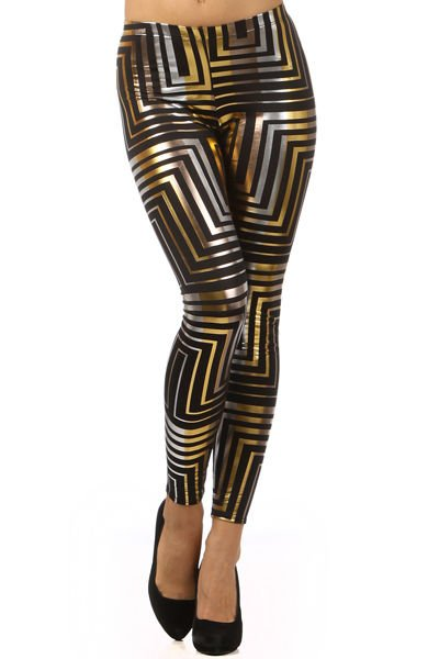 WOMENS STRIPED METALLIC BROWN PARTY LEGGINGS SIZE S M L