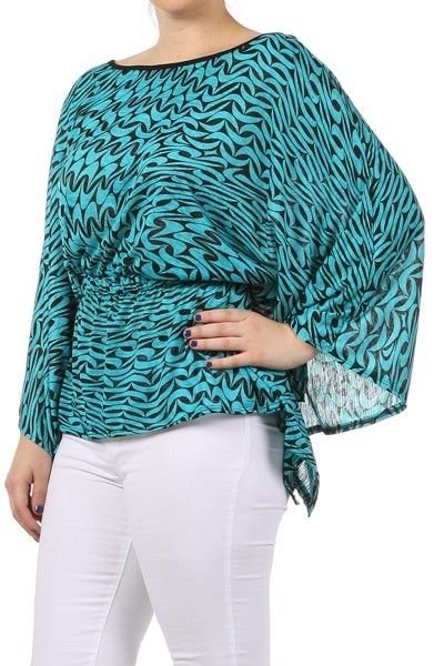 WOMENS CASUAL BLUE BLACK TURQUOISE PLUS SIZE BLOUSE SIZE 1X 2X 3X
