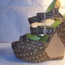 WOMENS BROWN WEDGE SANDALS SIZE 8.5, 10