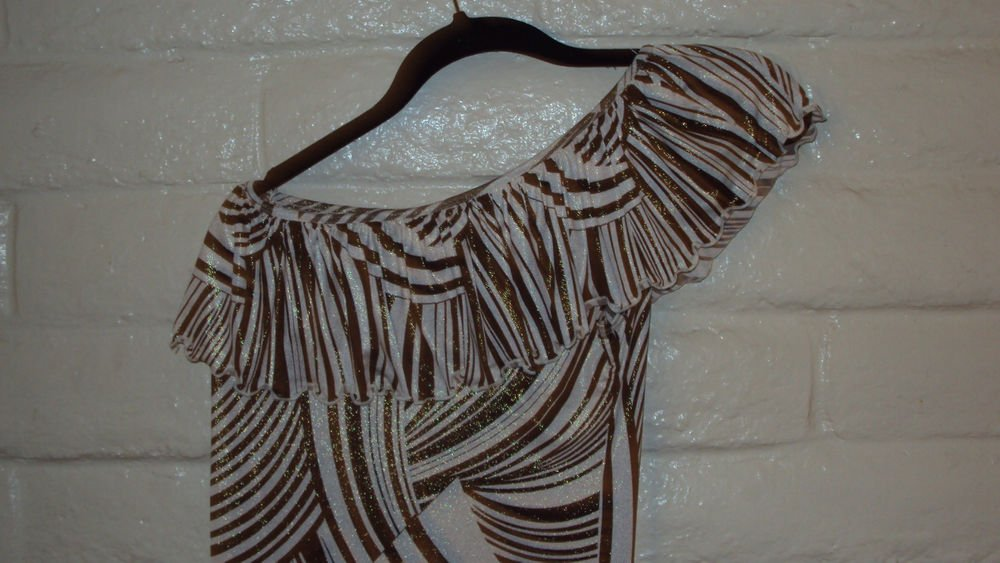WOMENS CLUB PARTY BROWN TAN METALLIC BODYCON MINI DRESS SIZE S