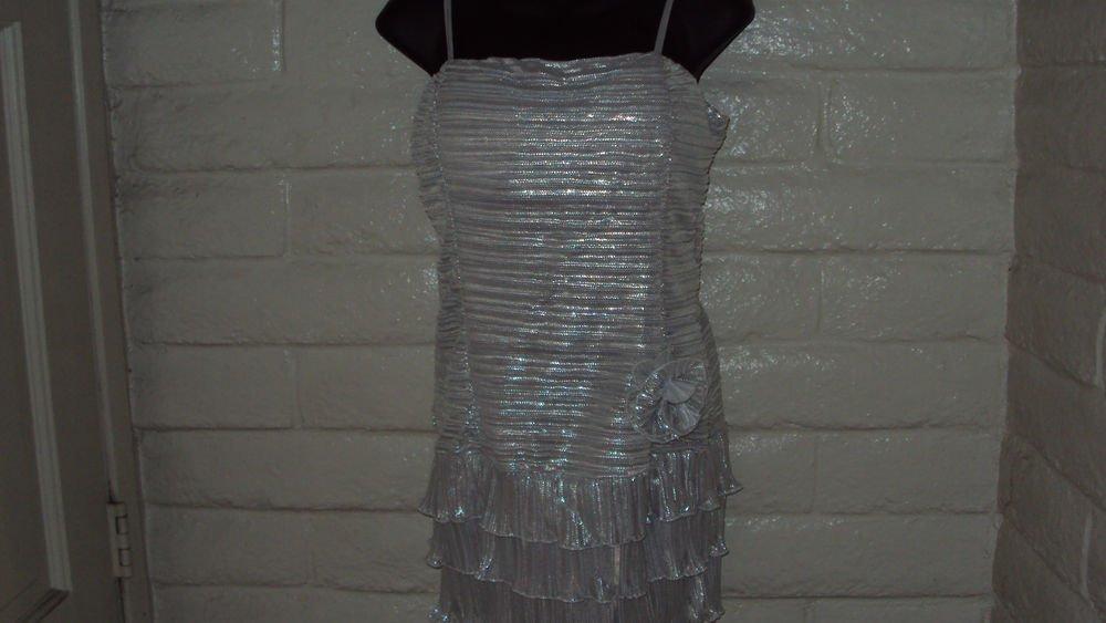 Silver Glitter Halter Party Dress