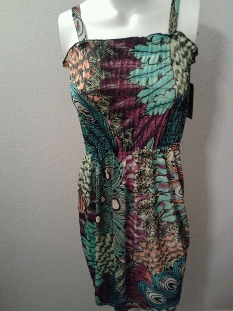 WOMENS POLYESTER  MINI SUMMER BEACH CASUAL DRESS WITH A FEATHER DESIGN SIZE L