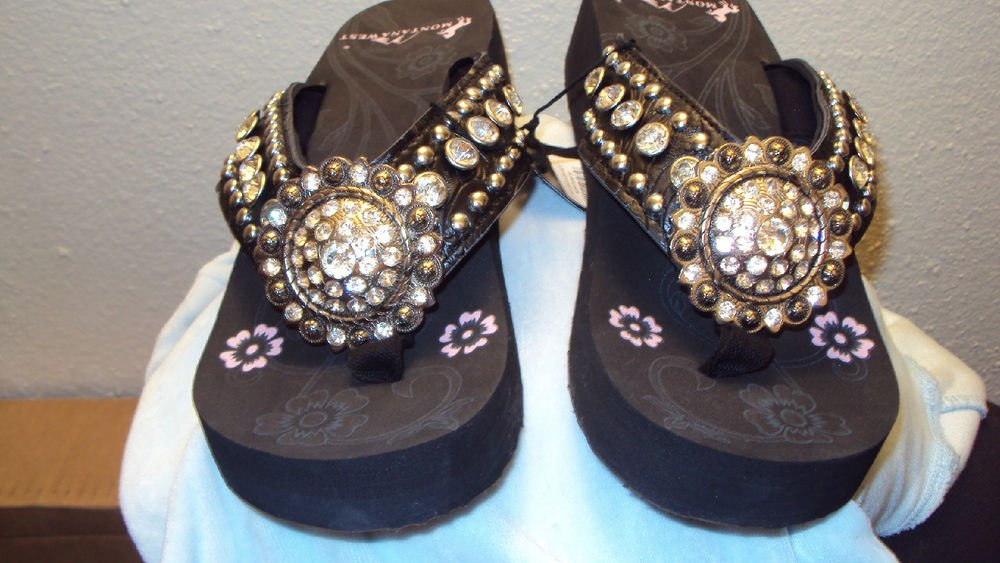 MONTANA WEST BLACK WESTERN WEDGE SANDALS WITH A CONCHO SIZE 6 7 8 9 10 11