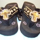 MONTANA WEST WESTERN WEDGE FLIP FLOPS WITH A CROSS SIZE 6 7 8 9 10 11
