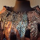 WOMENS PLUS SIZE POLYESTER BROWN CASUAL PARTY AFRICAN SAFARI SIZE  3X Blouse
